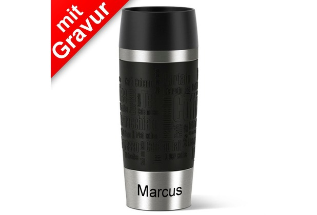 emsa Isolierbecher TRAVEL MUG Manschette schwarz 360ml MIT GRAVUR (z.B. Namen)