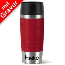 emsa Isolierbecher TRAVEL MUG Manschette rot 360ml MIT GRAVUR (z.B. Namen)
