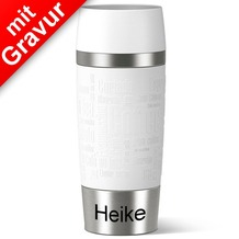 emsa Isolierbecher TRAVEL MUG Manschette weiß 360ml MIT GRAVUR (z.B. Namen)