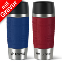 emsa Partnerbecher MIT GRAVUR -UNTEN- (z.B. Mr.+ Mrs. Schmidt) TRAVEL MUG Isolierbecher rot + blau 360ml